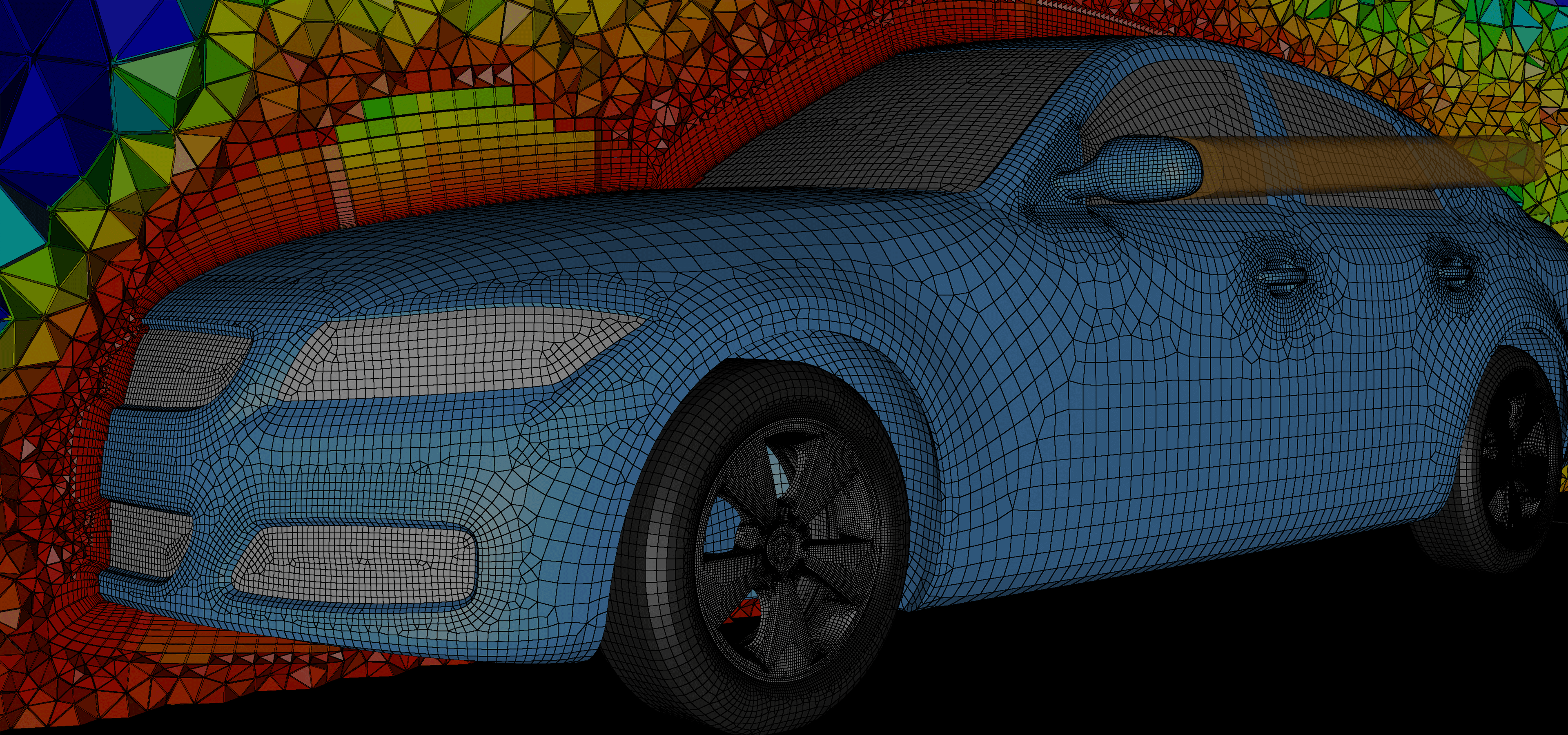 Pointwise V18's new quad-dominant and hexahedral layer techniques were used to generate this hybrid mesh for the DrivAer automotive benchmark case