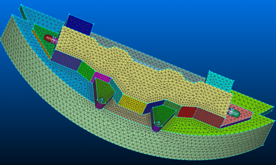 Advancing front surface mesh on brake assembly.