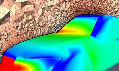 This image, a CFD solution of the DrivAer model developed by the Institute of Aerodynamics and Fluid Mechanics at Technische Universität München, was created using Pointwise, OpenFOAM® and ParaView.