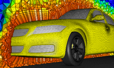 Hybrid volume mesh generated for the full DrivAer model using Pointwise's T-Rex with cells colored by volume.