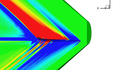 CFD solution computed using SU2 captures high resolution shock structures present on the surface of the aircraft and propagating well into the farfield.